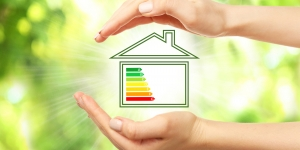 Hands Cupped Around Diagram of Home with Energy Rating Concept Image
